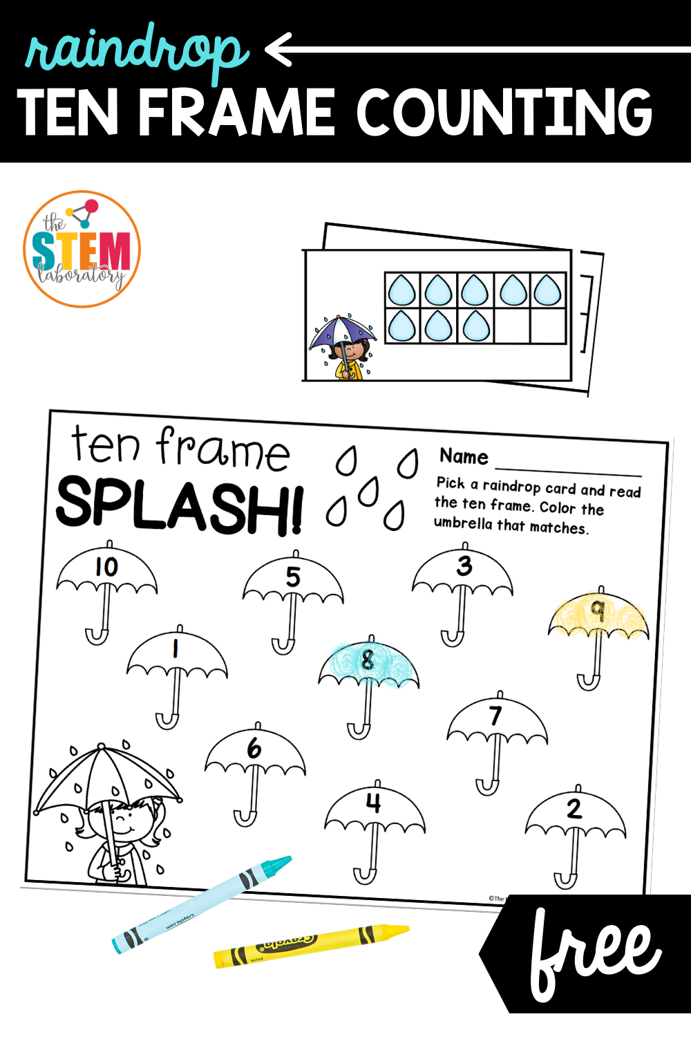 Raindrop Ten Frame Counting Activity
