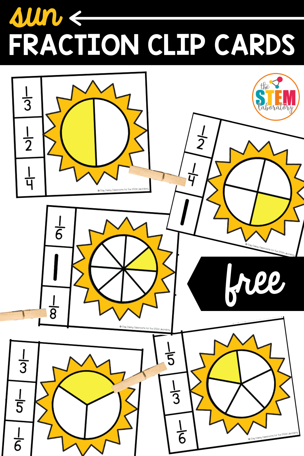 Sun Fraction Clip Cards