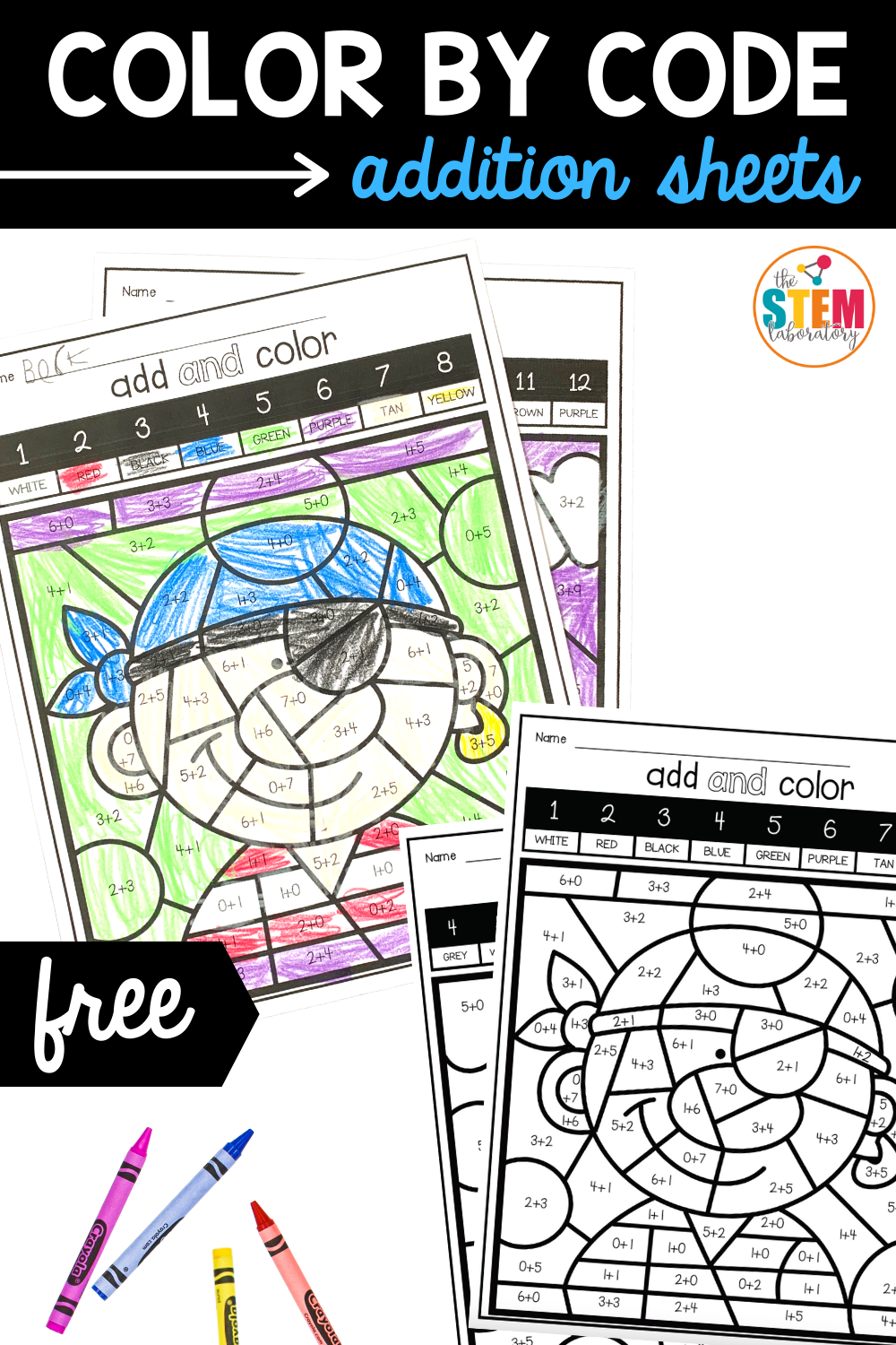 Color by Code Addition Sheets