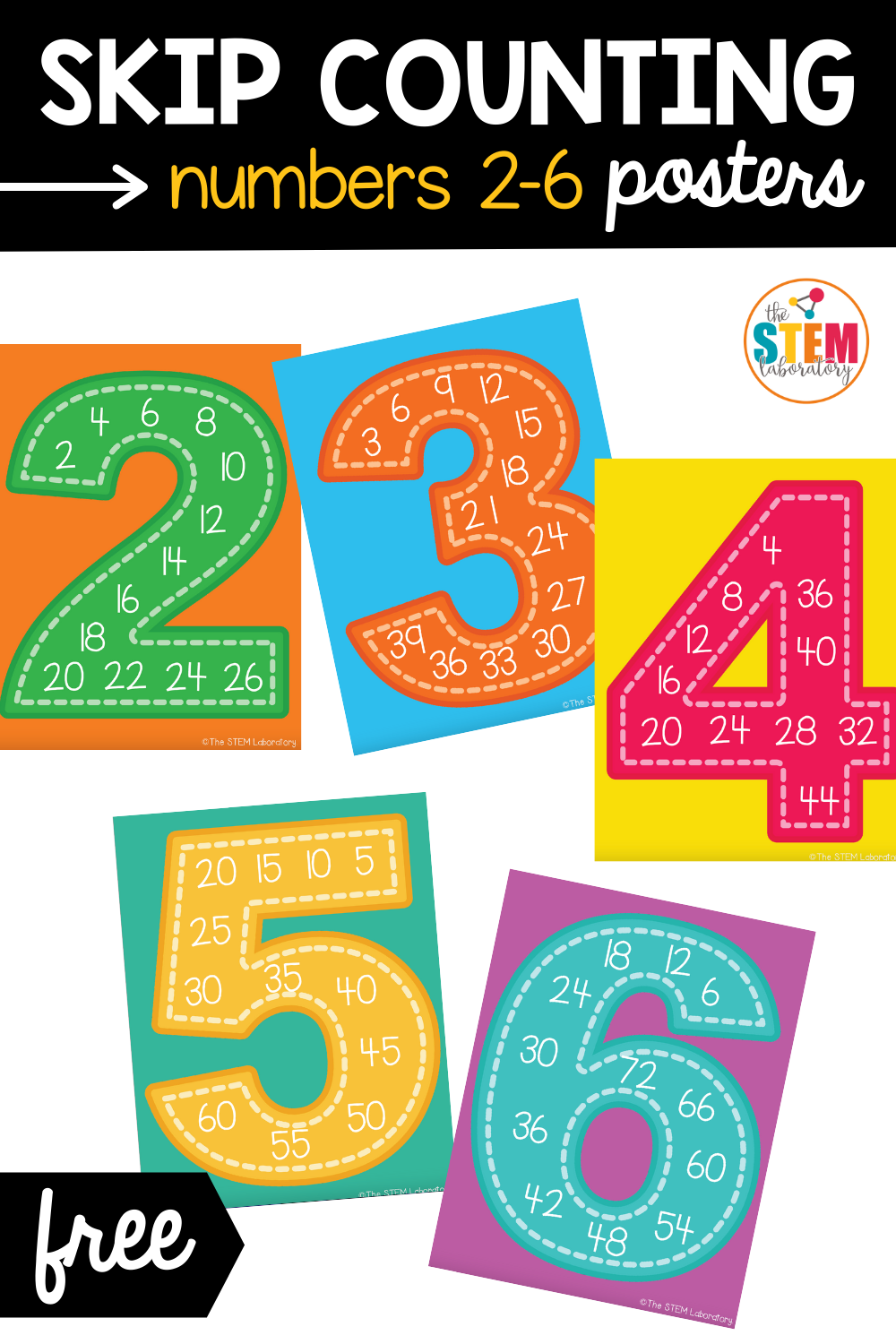 Skip Counting Posters Numbers 2-6