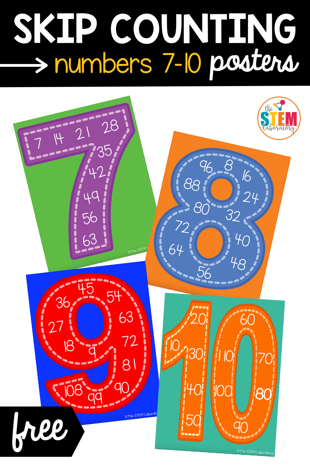 Skip Counting Posters Numbers 7-10