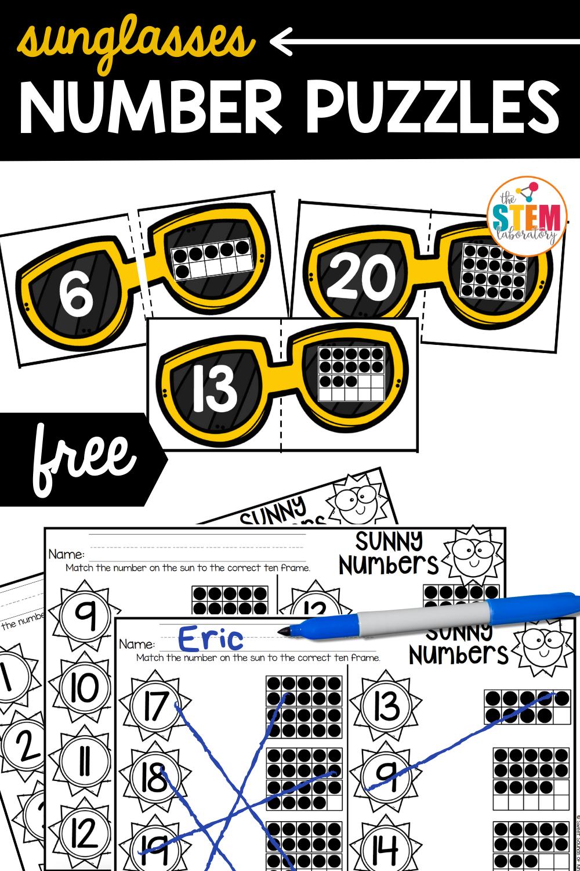 Sunglasses Number Puzzles
