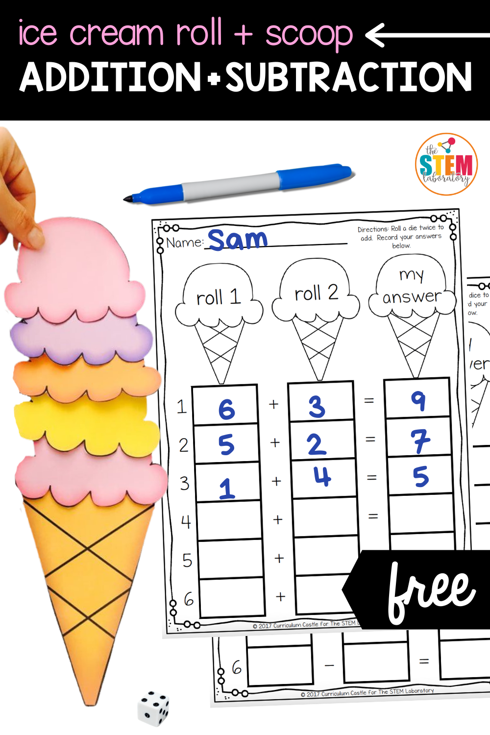 Ice Cream Roll and Scoop Addition and Subtraction